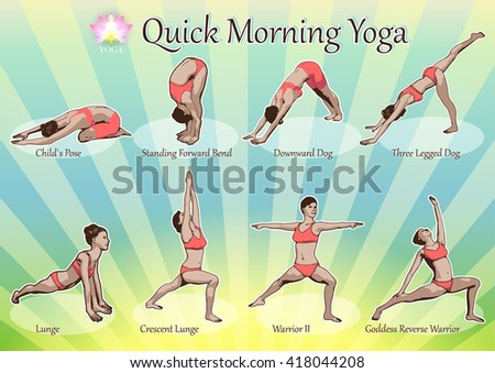 A set of yoga postures female figures: a sequence of exercise in the form of creative, visual poster for morning yoga - stock vector