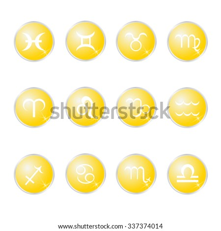A set of zodiac sign icons representing the twelve signs of the zodiac for horoscopes and the like - stock vector