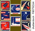 A set Vintage Labels with illustrations of retro style space rockets - stock photo