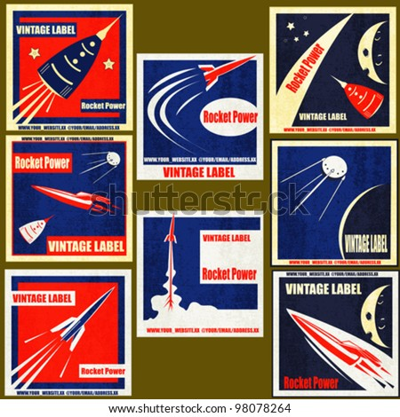 A set Vintage Labels with illustrations of retro style space rockets - stock vector