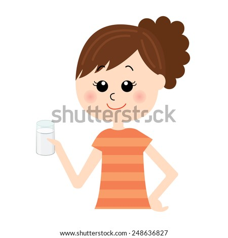 A set young happy woman with a glass of milk in her hand, vector illustration