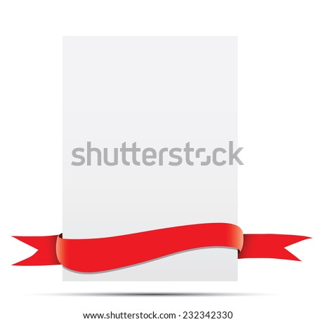 A sheet of paper with red ribbon.  - stock vector