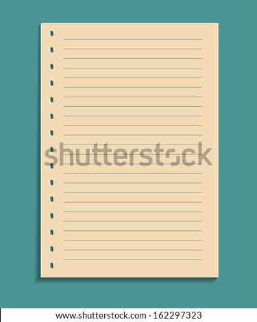 a sheet of white paper notebook with space for writing