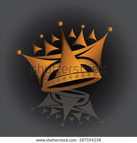 A shining golden royal crown  - stock vector
