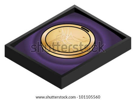 A shiny bronze medal with a modern abstract design in a velvet-lined case. - stock vector
