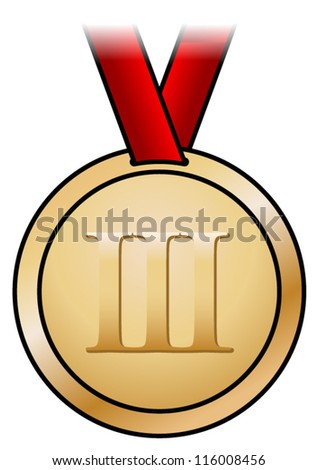 A shiny bronze medal with a simple design and a red satin ribbon. Shown front-on.