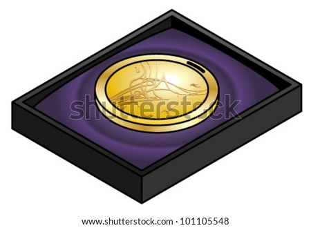 A shiny gold medal with a modern abstract design in a velvet-lined case. - stock vector