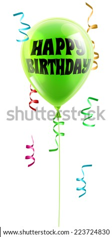 A shiny green balloon with the words Happy Birthday written on it - stock vector