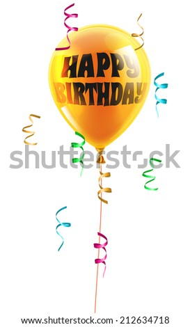A shiny orange balloon with the words Happy Birthday written on it - stock vector