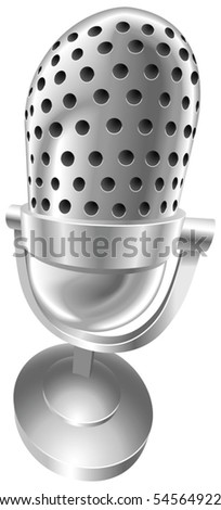 A shiny silver steel metallic old style retro microphone vector illustration with dynamic perspective. Can be used as an icon or illustration in its own right. - stock vector