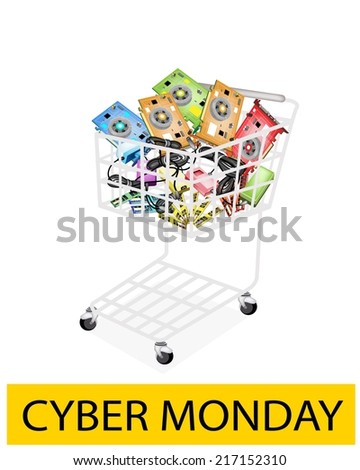 A Shopping Cart Full with Computer Hardwares for Cyber Monday Shopping Season and Biggest Discount Promotion in A Year.  - stock vector