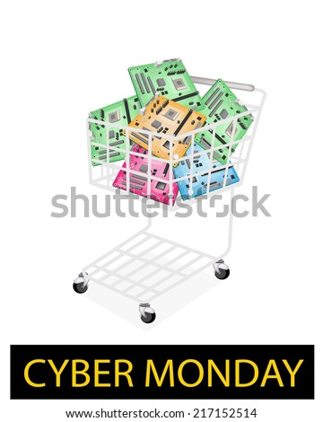 A Shopping Cart Full with Various Colors Computer Mother Board or Computer Mainboard for Cyber Monday Shopping Season and Biggest Discount Promotion in A Year.  - stock vector