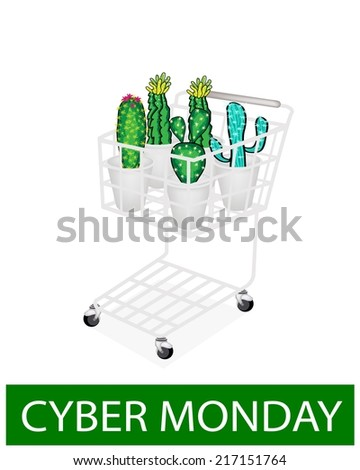 A Shopping Cart Full with Various Type of Cactus for Cyber Monday Shopping Season and Biggest Discount Promotion in A Year.  - stock vector