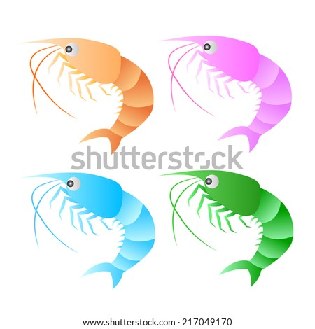 A shrimp isolated on white background. EPS10 vector format. - stock vector