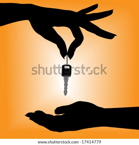 A silhouette female hand holds an auto key over a cupped hand against an orange background. - stock vector