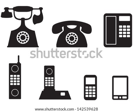 A silhouette image of a different telephone - stock vector
