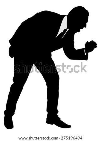 A silhouette of a businessman having a painful cough, vector  - stock vector