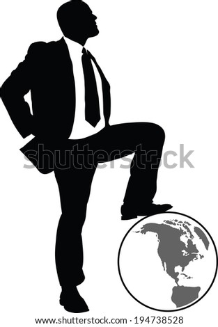 A silhouette of a businessman resting his foot on a globe. - stock vector