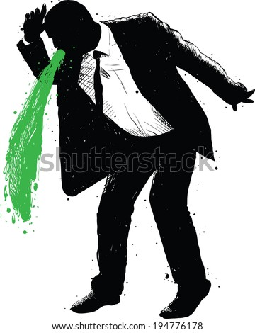 A silhouette of a businessman vomiting green. - stock vector