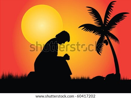 a silhouette of a lone lady meditating