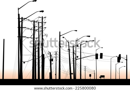 A silhouette of a messy cluster of streetlights and poles. - stock vector