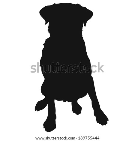 A silhouette of a sitting Labrador Retriever which could also be a generic short haired dog - stock vector
