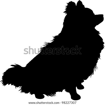 A silhouette of a sitting Pomeranian dog in profile.