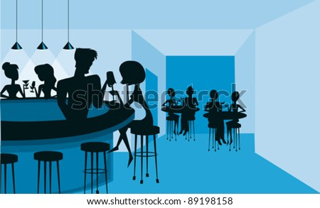A silhouetted club or bar scene in blue and black. - stock vector