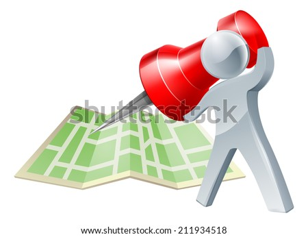 A silver person about to mark a location on a map with a map pin or tack or make a decision about where to go - stock vector