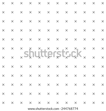 A simple black and white vector pattern made with multiply sign. - stock vector