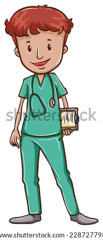 A simple drawing of a doctor with a stethoscope on a white background  - stock vector