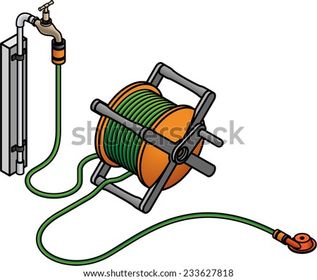 A simple lawn sprinkler attached to garden hose reel and a brass tap. - stock vector