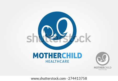 a simple logo design of mother holding a child, it's a vector logo template.  - stock vector