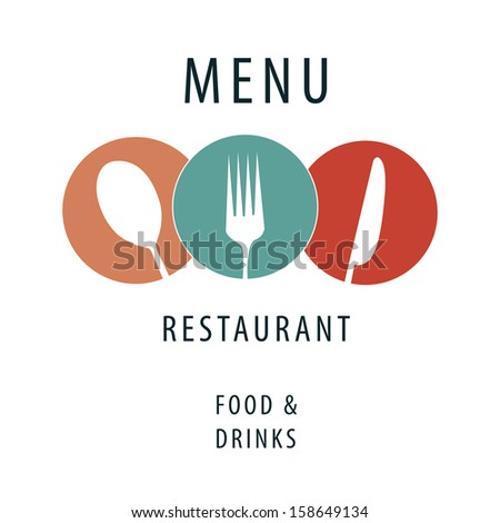 a simple menu design with some white silhouettes and colors with text - stock vector