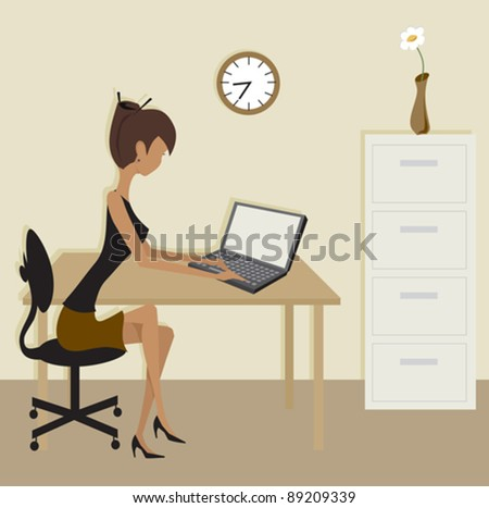 A simple office scene in brown colors. - stock vector