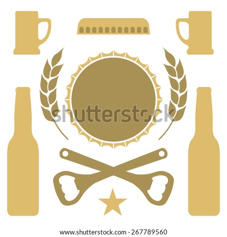A simple set of vector beer icons in a golden hue. - stock vector