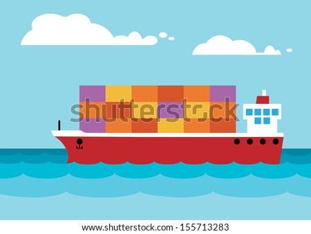 A simplified container ship on the open sea.