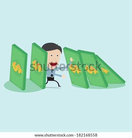 A single man trying to stop collapsing domino money  - stock vector