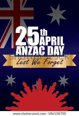 A4 sized ANZAC day poster. Australian New Zealand Army Corps. Commemorating soldiers past and present on April 25th each year.