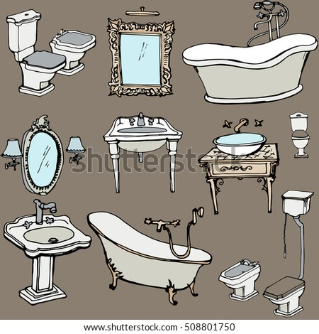 a sketch for the bathroom in a classic style, interior, bath, sink, toilet, bidet, mirror, lamp - brown background