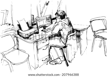 a sketch of a man in the office working on the computerb - stock vector