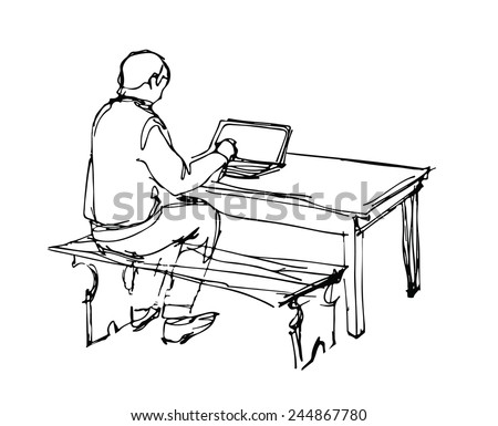a sketch of a man working at a laptop at the table - stock vector