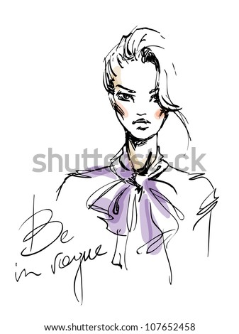 A sketch of the young woman with a bow. Fashion illustration - stock vector