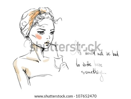 A sketch of the young woman with a cocktail - stock vector