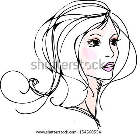 a sketch of woman, girl illustration, thinking - stock vector