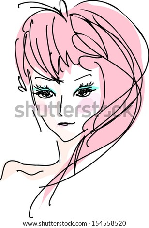 A sketch of woman with pink color hair illustration - stock vector