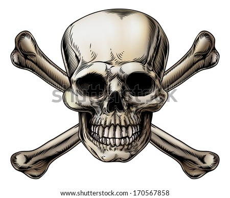 A skull and crossbones icon illustration of a human skull with crossed bones behind it. - stock vector