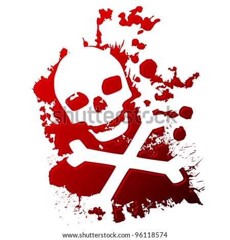 A skull and crossbones reversed out of spilled blood - stock vector