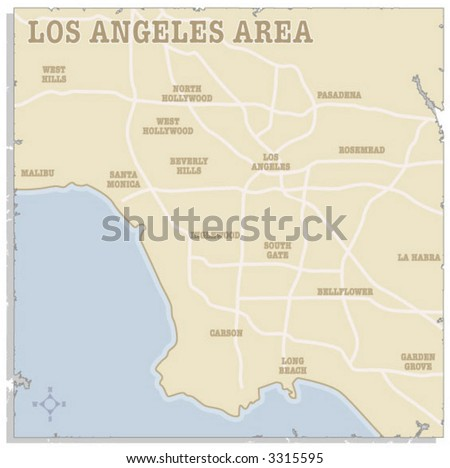 A slightly torn map of the Los Angeles area - stock vector