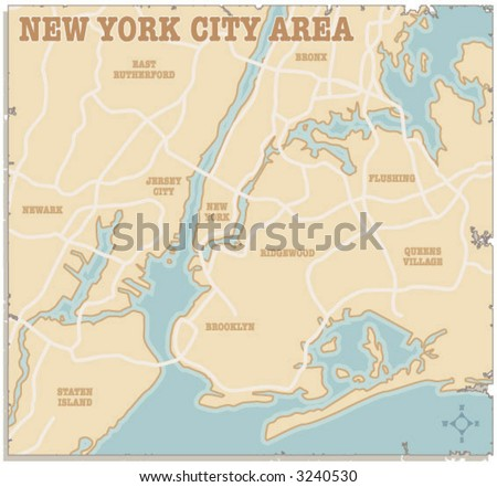 A slightly torn map of the New York City area - stock vector